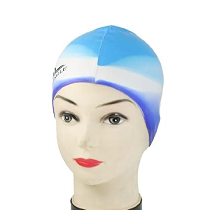 eDealMax Gorro de baño Deportes de silicona blando en adultos Pelo Agua Ptrotection Sombrero Azul Blanco
