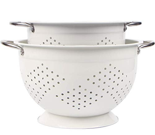Powder Coated Colander - Rorence Powder Coated Steel Colander Set of 2 - White