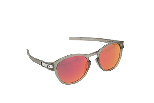 Oakley Men's OO9265 Latch Oval Sunglasses, Matte Grey Ink/Ruby Iridium, 53 ()