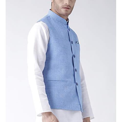 31BaYCymRvL. SS500  - hangup Men's Blended Bandhgala Festive Nehru Jacket/Waistcoat and Size Options (Up to2XL)