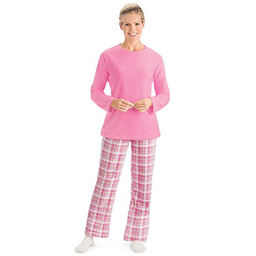 (Women's Fleece Pajama Set & Plaid Pants with Elastic Waist, Pink, Xx-Large)
