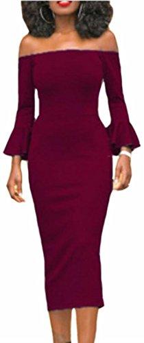 Jaycargogo La Soirée Des Femmes Manches Longues Évasées Épaule Sexy Robe De Vin Rouge