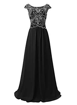 Emondora Women Long Bridesmaid Beading Evening Gown Cap Sleeves Formal Dresses