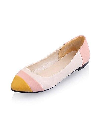 Casual eu38 5 PDX Flats mujer piel Beige talón us7 punta sintética de redonda cn38 5 azul plano beige rosa de zapatos uk5 rRwqUPr