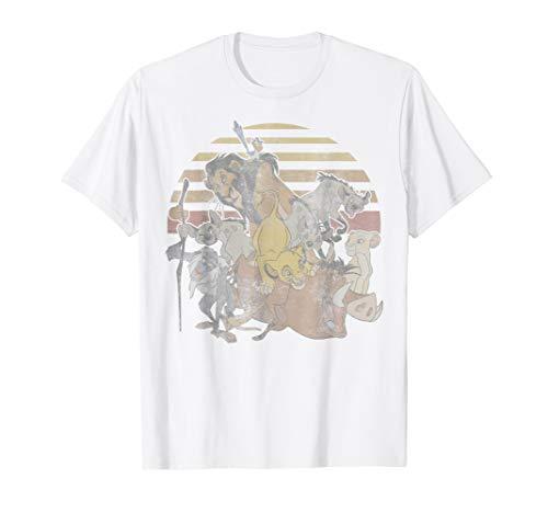 Disney Lion King Group Sunset Stripe Vintage Graphic T-Shirt