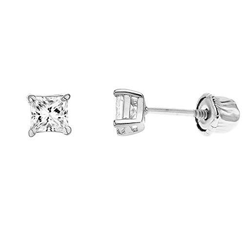 Ritastephens 14k Gold Square Princess-cut Cubic Zirconia Screw Back Stud Earrings (Mini, Small, Regular)
