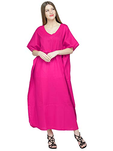 SKAVIJ Women's Embroidered Kaftans Tunic Cotton Beach Cover Up Plus Size (One_Size, Pink) ()