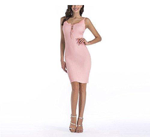 123 Robe Femme Sygoodbuy Maille Moulante Robe Bustier Moulante Courte Encolure En V Rose Lacets