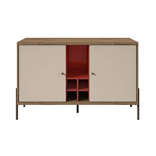 Manhattan Comfort 350631 Joy Series Mid-Century Modern Buffet Sideboard, Red/Off-White ()