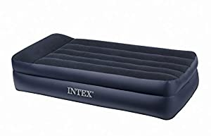 Intex Pillow Rest Raised Airbed with Built-in Pillow and Electric Pump, Twin, Bed Height 16.5