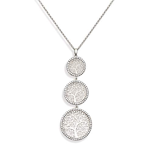 - NVENF Long Tree of Life Pendant Necklaces for Women Created Diamond Filigree Disc Sweater Chain Y-Shaped Crystal Pave Round Dangle Necklace Valentine's Day Jewelry Gift for Her (Silver-Tone)