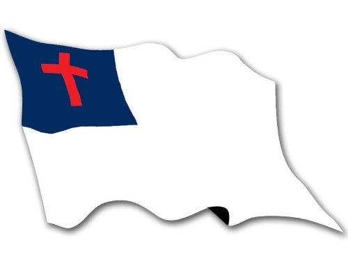American Vinyl Waving Christian Flag Sticker (Faith Jesus Religion Christ Baptist Catholic Love Faith)