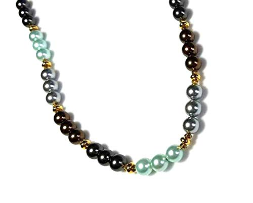 Multicolor Shell Pearl Beaded Necklace in Mint Green, Chocolate Brown and Gray Beads, 22K Gold-Plated Magnetic Clasp, Single Strand