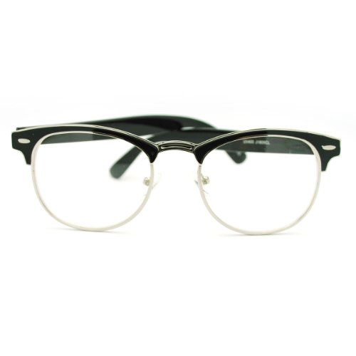 Vintage Inspired Classic Half Frame Horned Rim Glasses Clear - Horned Glasses Rim