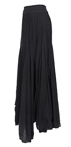 Black Asymmetric TEXTURE Hem Panel Size Boho Long Ladies Silk Womens Italian Skirt Handkerchief One Lagenlook Maxi qnHTSZwq