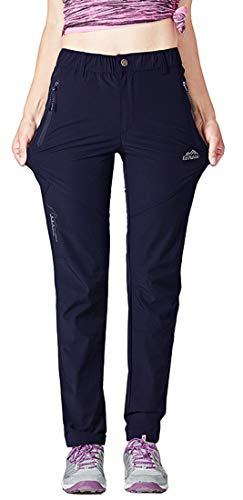 TBMPOY Women's Quick Dry Breathable Hiking Cargo Pants Camping Fishing Stretch Trousers(Navy,US M)