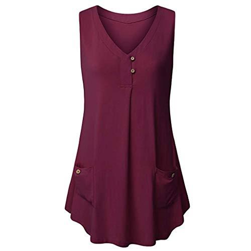 Amlaiworld Women Plus Size Tank Tops Casual V-Neck Sleeveless Buttons Design Tank Top Pocket Blouse Summer Loose T Shirt Wine