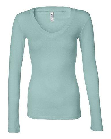 Bella womens Sheer Mini Rib Long-Sleeve V-Neck T-Shirt(B8750)-SEAFOAM BLUE-2XL