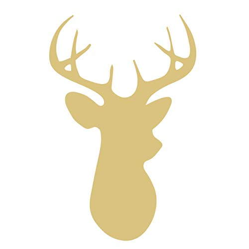 Deer Cutout Unfinished Wood Antlers Caribou Reindeer Forest Animal Buck Doe Zoo MDF Shape Canvas Style -