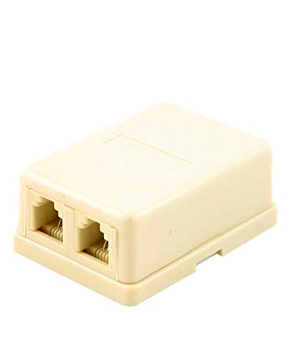 2 Way RJ11 Female Socket Surface Mount Telephone Cable - Dual Telephone Surface Wall Mount Phone Jacks Outlet 4C RJ11 Beige ()