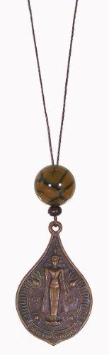 (Buddhist Medallion & Spider Web Agate Mala Bead Amulet)