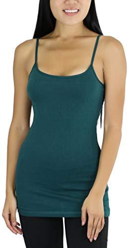 ToBeInStyle Women's Tunic Cami with Shelf Bra - Forest Green - Medium