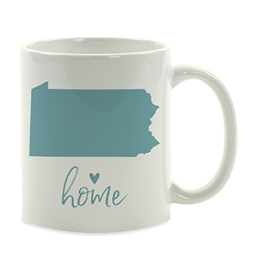 - Andaz Press 11oz. US State Coffee Mug Gift, Aqua Home Heart, Pennsylvania, 1-Pack, Unique Hostess Distance Moving Away Christmas Birthday Gifts for Her