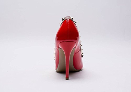Nude Studded Pointed Patent Pan Trim Red Stiletto High Leather Kaitlyn Toe Gold Heel Pumps Genuine Studs fTA7wxqU