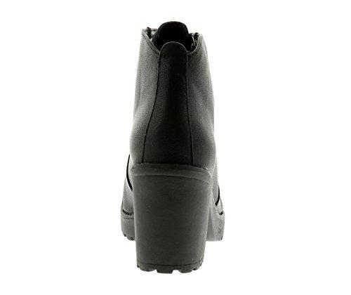Moderno con Negro 8 Negro Cordones Botas GB Tallas Nuevo Cremallera Con 3 interior Mujer xTYIwnqn4