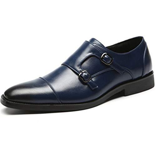 Mens Strap Slip On Loafer Leather Oxford Formal Casual Dress Shoes for Men(Blue-Lable 39/6 D(M) US Men)