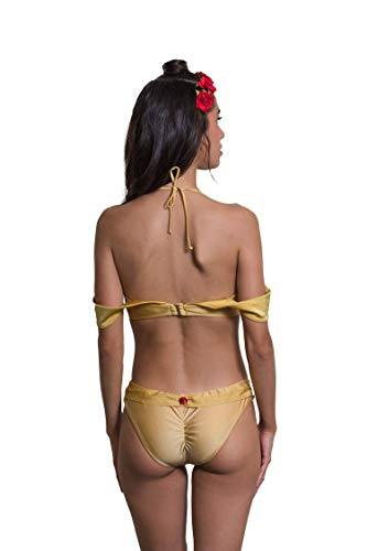 9081efc7023b5 Enchanted Bikinis Romantic Princess Pinup Gold Yellow Off The Shoulder  Straps Rose Bra Costume Bikini Top