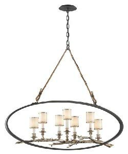 Troy Lighting F3447 Drift - Seven Light Large Chandelier, Bronze/Silver Leaf Finish with White Pearl Glass