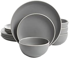 Gibson Home Rockaway 12-Piece Dinnerware Set Service for 4, Grey Matte -