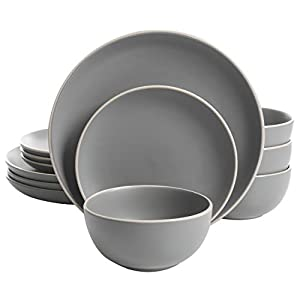 Gibson Home Rockaway 12-Piece Dinnerware Set Service for 4, Grey Matte –