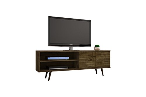 Manhattan Comfort Liberty Collection Mid Century Modern TV Stand With One Cabinet and Two Open Shelves With Splayed Legs, Wood