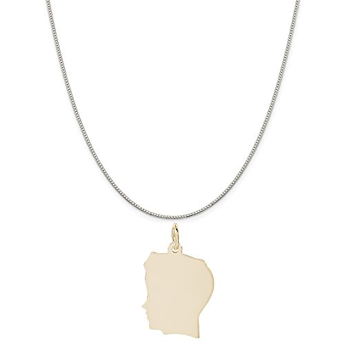 Rembrandt Charms Two-Tone Sterling Silver Flat Boy Head Charm on a Sterling Silver Box Chain Necklace, 16