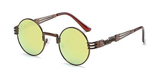 retro lunettes en Mercure rond Jaune cercle vintage Lennon métallique polarisées de du soleil style inspirées rrYwOqT