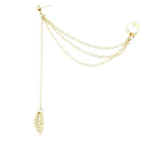 YESSKO 1piece Punk Rock Style Woman Young Gift Leaf Chain Tassel Eardrop Earrings Dangler Earring for Women Girls (Gold)