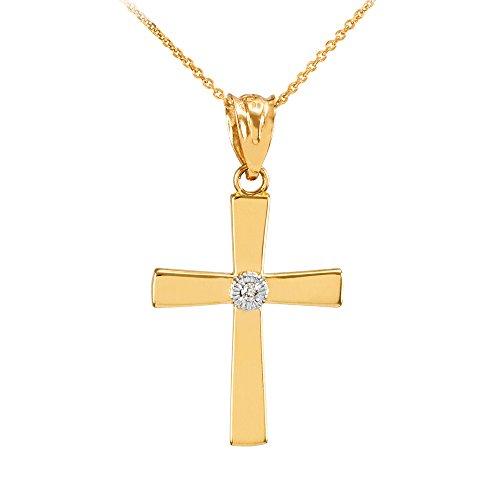 Collier Femme Pendentif 10 Ct Or Jaune Diamant-Accentué Croix (Livré avec une 45cm Chaîne)