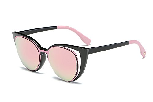 Amomoma Cat Eye Sunglasses Women Brand Designer Retro Pierced Female AM2015 Black Frame/Pink - Female Brands Best Sunglasses