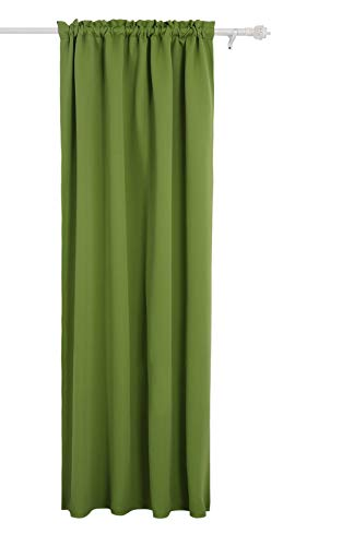 Deconovo Solid Blackout Curtains Rod Pocket Curtain Thermal Insulated Window Coverings Curtain for Classroom Grass Green 52Wx63L Inch 1 Drape -