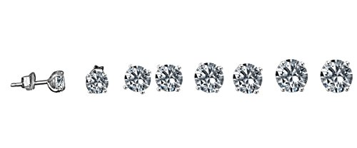 Diamond Veneer -14k (10CT) Solid Gold Set with Simulated Diamond Basket Settings Stud Earrings (White Gold) by Diamond Veneer