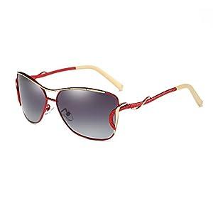 HDCRAFTER Fashion Women Outdoor UV400 Polarized Cat Eye Sunglasses Metal Frame