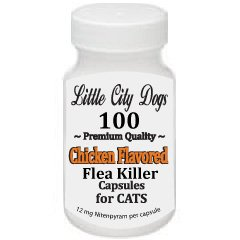 Little City Dogs JUMBO PACK – 100 CHICKEN FLAVORED Flea Killer Capsules for Cats and Small Dogs – 12 Mg Nitenpyram Per Capsule …compares to Capstar® – Treats 100 Pets 2 – 25 lbs, My Pet Supplies
