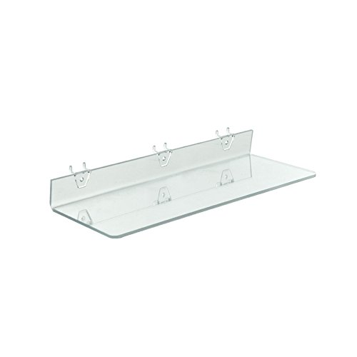 Count of 4 Clear Acrylic Shelf for PEGBOARD and SLATWALL 20