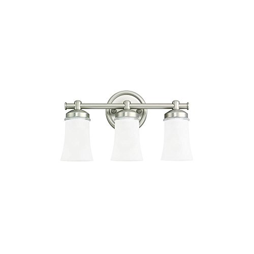 Newport Lighting (Sea Gull Lighting 44484BLE-965 Energy Star Newport Bath Bar, Clear Highlighted Satin Etched Glass Shades and Antique Brushed Nickel, 3-Light)