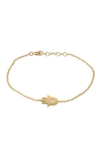 14k gold hamsa bracelet with diamond, single diamond hamsa by Zoe Lev Jewelry