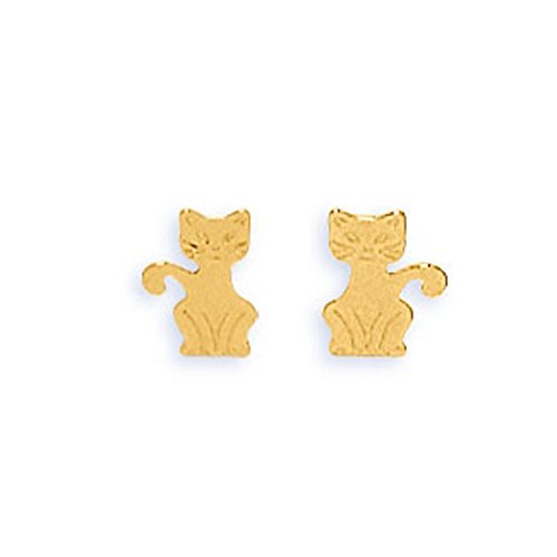 DIAMANTLY Boucles d'oreilles chats or 750