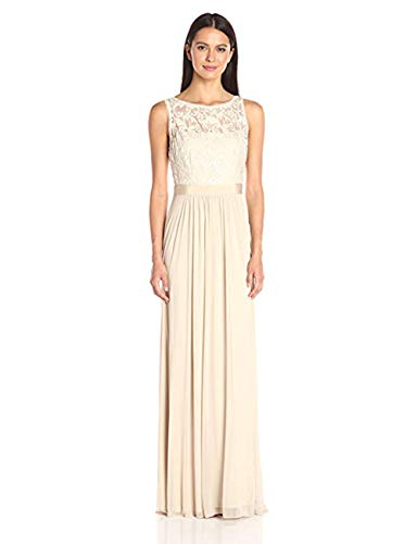 Stretch Mesh Gown - Adrianna Papell Women's Sequin Mesh Stretch Tulle Gown with Lace Bodice, Champagne, 12