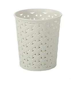 CURVER Faux Rattan Dresser Storage Pot, White, 11 x 6 x 11 cm